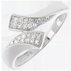 Bague ruban or blanc 18 carats pavée - 24 diamants