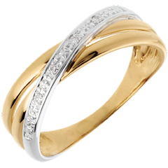 Bague Saturne Duo variation - 4 diamants - or blanc et or jaune 18 carats