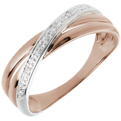 Bague Saturne Duo variation - 4 diamants - or blanc et or rose 18 carats