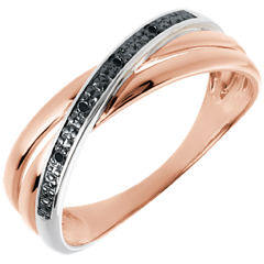 Bague Saturne Duo variation - or blanc et or rose 18 carats et diamants noirs