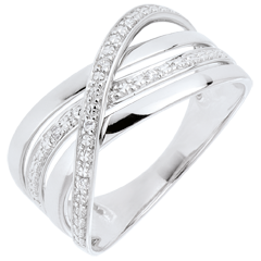 Bague Saturne Quadri - or blanc 9 carats - diamants