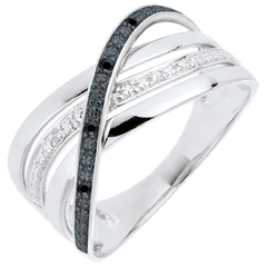 Bague Saturne Quadri - or blanc - diamants noirs et blancs - 9 carats