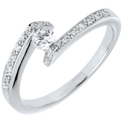 Bague Solitaire accompagné Nid Précieux - Promise - or blanc 18 carats - diamant 0.15 carat