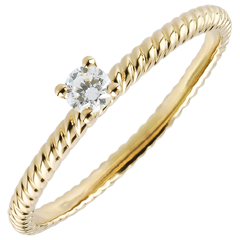 Bague Solitaire Corde d'or - or jaune - 0.1 carat