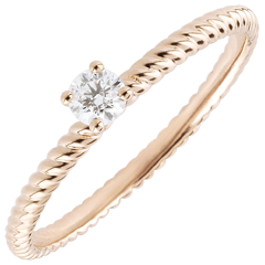 Bague Solitaire Corde d'or - or rose - 0.1 carat