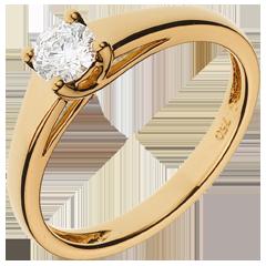 Bague solitaire Diadème or jaune - diamant 0.34 carat