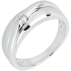 Bague solitaire diamant Hestia or blanc 18 carats