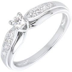 Bague Solitaire Diamant Salma or blanc 18 carats - diamant 0.13 carat