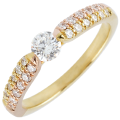 Bague solitaire diamant Triomphale - or jaune et or rose - 0.25 carat