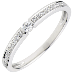Bague Solitaire diamant Ultima - diamant 0.05 carat - or blanc 9 carats