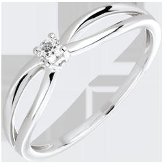 Bague solitaire Ella or blanc 18 carats et diamant