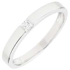 Bague Solitaire Epure - diamant Princesse 0.08 carat - or blanc 9 carats