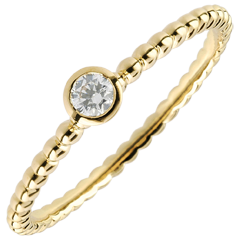 Bague Solitaire Fleur de Sel - un anneau - or jaune - 0.08 carat - 18 carats