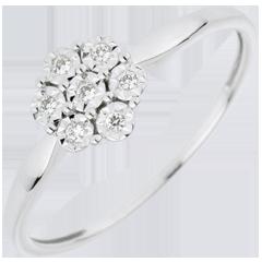 Bague Solitaire Fraicheur - Fleur de Flocon - 7 diamants - or blanc 18 carats