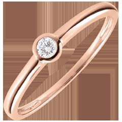 Bague Solitaire Mon diamant - or rose - diamant 0.08 carat - 9 carats