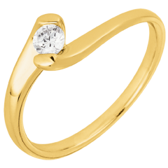 Bague solitaire Nid Précieux - Passion éternelle - or jaune 9 carats - 0.14 carat