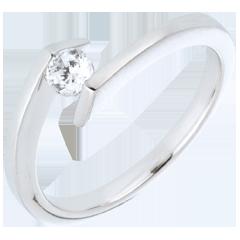 Bague solitaire Princesse étoile or blanc 18 carats - diamant 0.22 carat