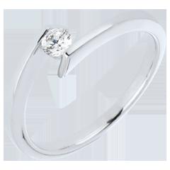 Bague solitaire Princesse étoile or blanc 9 carats - 0.15 carat