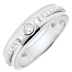 Bague Solitaire Promesse - or blanc et diamants - 18 carats