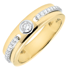 Bague Solitaire Promesse - or jaune 9 carats et diamants
