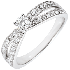 Bague Solitaire Saturne Duo double diamant - or blanc 9 carats - 0.15 carat