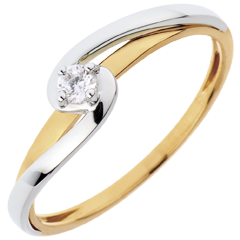 Bague Solitaire Silly - 0.08 carat - or blanc et or jaune 18 carats