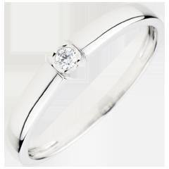 Bague Solitaire Trésor pastille - diamant 0.04 carat - or blanc 18 carats