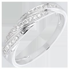 Bague tresse précieuse or blanc et diamants