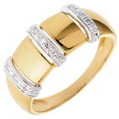 Bague triade or jaune 18 carats pavée - 9 diamants