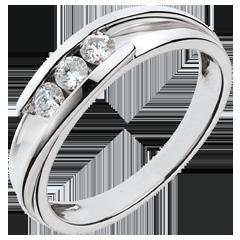 Bague trilogie bipolaire or blanc 18 carats - 0.24 carats - 3 diamants