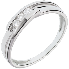 Bague trilogie bipolaire or blanc 18 carats - 3 diamants