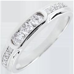 Bague Trilogie Helwen - or blanc 9 carats
