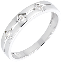 Bague Trilogie Losanges or blanc 18 carats et diamants