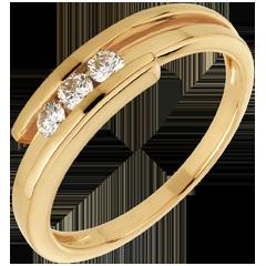 Bague Trilogie Nid Précieux - Bipolaire - or jaune 18 carats - 0.17 carat