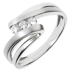 Bague trilogie Nid Précieux - Naïade - or blanc 18 carats - 3 diamants