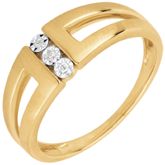 bague trilogie Selma or jaune 18 carats et diamants