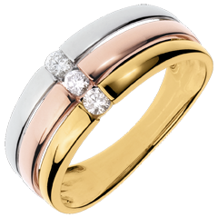 Bague trilogie Trinidad - 3 ors - 0.16 carat - trois ors 18 carats
