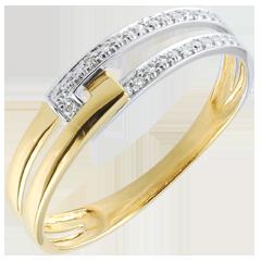 Bague Union Tandem bicolore - or blanc et or jaune 18 carats