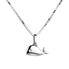 Balenuţă - model mare - aur alb de 18K