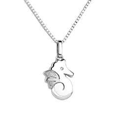Beautiful seahorse - large model - white gold - 9 carat