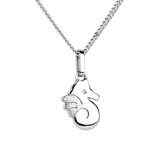Beautiful seahorse - small model - white gold