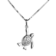 Bébé tortue - grande - or blanc - 9 carats