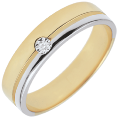 Bi-colour Gold Diamond Olympia Wedding Band - Average Model - 18 carats