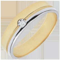 Bi-colour Gold Diamond Olympia Wedding Band - Average Model - 18 carats