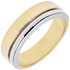 Bi-colour Gold Diamond Olympia Wedding Band - Large Model
