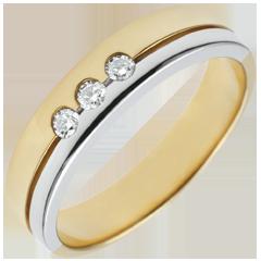 Bi-colour Gold Olympia Trilogy Wedding Band - Average Model - 18 carats