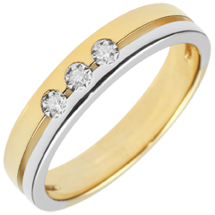 Bi-colour Gold Olympia Trilogy Wedding Band - Small Model - 18 carats