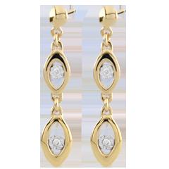 Bi-colour Gold Peacock Charm Earrings - 18 carats