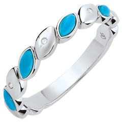 Blissful Alliance - Turquoise & diamonds - 9 carat white gold