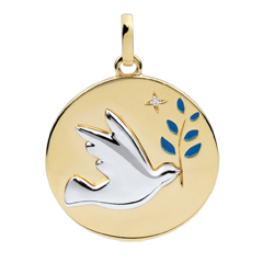Blue Lacquer Dove with Branch Medal with 1 diamond - 18ct